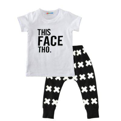 SOSOCOER Kids Clothes Set White Letter Short Sleeved T - Shirt + Cross Print Pants Two Piece