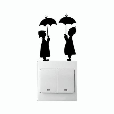 DSU Lovers In The Rain Switch Sticker Creative Lovers Silhouette Vinyl Wall StickerWall Stickers<br>DSU Lovers In The Rain Switch Sticker Creative Lovers Silhouette Vinyl Wall Sticker<br><br>Art Style: Plane Wall Stickers, Toilet Stickers<br>Artists: Others<br>Brand: DSU<br>Color Scheme: Black<br>Effect Size (L x W): 9.5 x 7.6 cm<br>Function: Light Switch Stickers, Decorative Wall Sticker<br>Layout Size (L x W): 9.5 x 7.6 cm<br>Material: Vinyl(PVC)<br>Package Contents: 1 x Wall Sticker<br>Package size (L x W x H): 10.00 x 9.00 x 1.00 cm / 3.94 x 3.54 x 0.39 inches<br>Package weight: 0.0200 kg<br>Product size (L x W x H): 9.50 x 7.60 x 0.01 cm / 3.74 x 2.99 x 0 inches<br>Product weight: 0.0100 kg<br>Quantity: 1<br>Subjects: Fashion,Letter,Leisure,Cute,Cartoon,Famous,Game<br>Suitable Space: Living Room,Bedroom,Hotel,Kids Room,Entry,Kitchen,Pathway,Door,Corridor,Hallway,Boys Room,Game Room<br>Type: Plane Wall Sticker