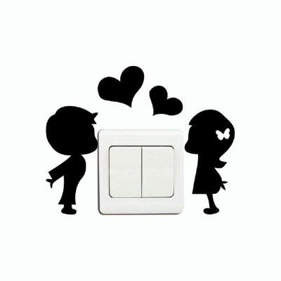 DSU Romantic Lover Light Switch Sticker Creative Cartoon Silhouette Vinyl Wall Sticker