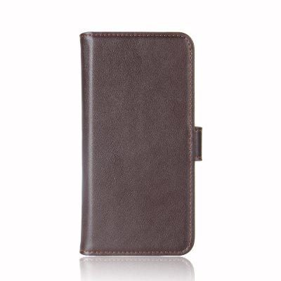 купить Solid Color Real Cow Leather Wallet Style Front Buckle Flip Case with Card Slots for Doogee Mix 2 недорого