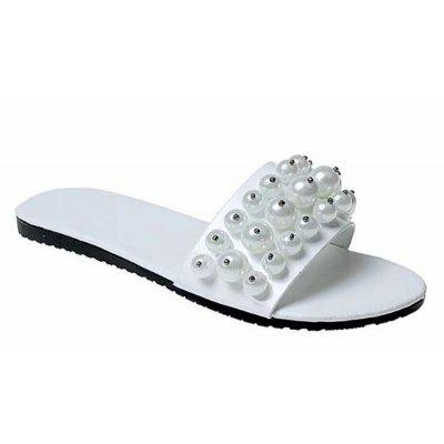 Fashion Pearl Exposed Toe Flat Bottom Anti-slip Slippers