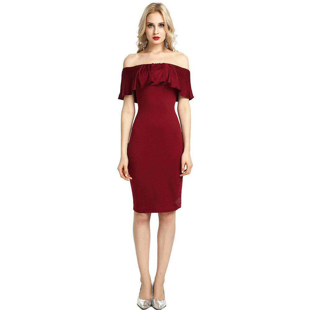 Womens Night Out Bodycon Dress Ladies Off Shoulder Falbala Dress