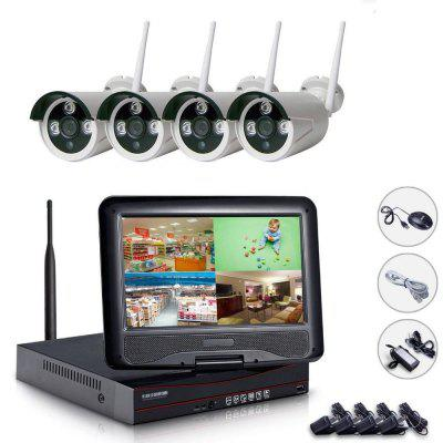 NH72004 WiFi 4CH NVR Kit CCTV System 10.1 Inch Screen Monitor 720P Wireless IP Camera Security CCTV Alarm System