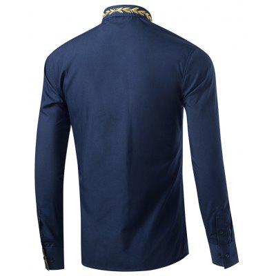 Mens New Fashion Neckline Embroidered Pure Color Long Sleeve Loose Shirts