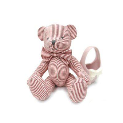 Pink Striped Cotton Fabric Cloth Doll Bear Plush Toy