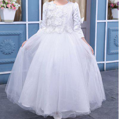 Spring and Autumn Long-Sleeved Princess DressGirls dresses<br>Spring and Autumn Long-Sleeved Princess Dress<br><br>Dresses Length: Floor-Length<br>Material: Cotton<br>Package Contents: 1 x Dress<br>Pattern Type: Floral<br>Silhouette: Ball Gown<br>Style: Fashion<br>Weight: 0.4000kg<br>With Belt: No