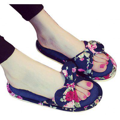 YJ001 Floral Bow Cute Women Home Soft Cotton Comfortable Slippers