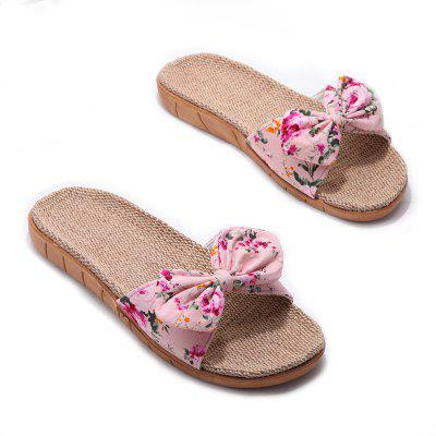 YJ002 Women' Linen Slippers Fashion Deisgn Floral Bowknot Slippers