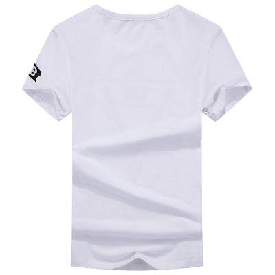 Fashionable Short Sleeve Leisure Match Handsome T-ShirtMens Short Sleeve Tees<br>Fashionable Short Sleeve Leisure Match Handsome T-Shirt<br><br>Collar: Round Neck<br>Fabric Type: Woolen<br>Material: Cotton<br>Package Contents: 1x T-shirt<br>Pattern Type: Hand-painted<br>Sleeve Length: Short Sleeves<br>Style: Casual<br>Weight: 0.3800kg