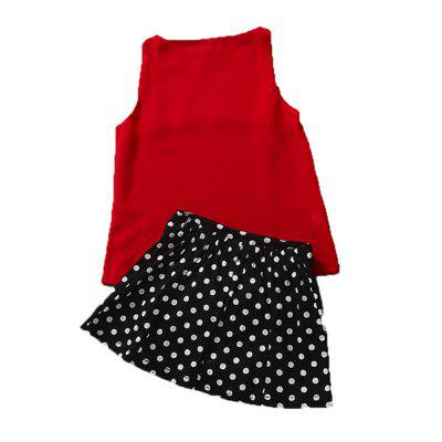 Girl Sleeveless Fashion Design Skirt SuitGirls clothing sets<br>Girl Sleeveless Fashion Design Skirt Suit<br><br>Collar: Round Neck<br>Material: Cotton<br>Package Contents: 1 x Suit<br>Pattern Type: Others<br>Shirt Length: Short<br>Sleeve Length: Sleeveless<br>Style: The Princess<br>Weight: 0.1600kg