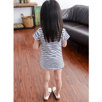 New Girl Small Mouse Embroidered Skirt Striped Stitching Dress new