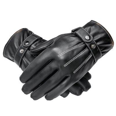 Men Cycling Autumn and Winter Plus Velvet Padded Outdoor Pu Leather Gloves