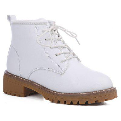 Woman Retro Warm Wool Blend Lace-Up Martin Boots