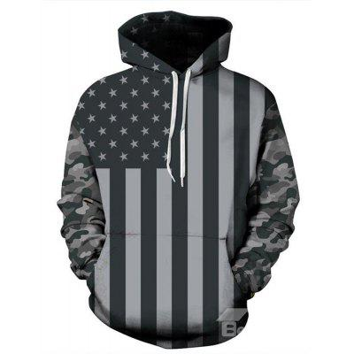 Fashion Long Sleeve Flag Pattern 3D Painted Hoodie
