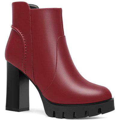 Round Head Thick and Waterproof Platform Ankle Boots