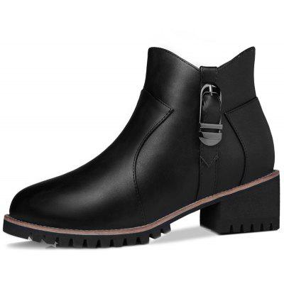 Coarse and Stuffed Round Short BootsWomens Boots<br>Coarse and Stuffed Round Short Boots<br><br>Boot Height: Ankle<br>Boot Type: Fashion Boots<br>Closure Type: Zip<br>Gender: For Women<br>Heel Type: Low Heel<br>Package Contents: 1x shoes (pair)<br>Pattern Type: Solid<br>Season: Spring/Fall, Winter<br>Toe Shape: Round Toe<br>Upper Material: PU<br>Weight: 1.6896kg