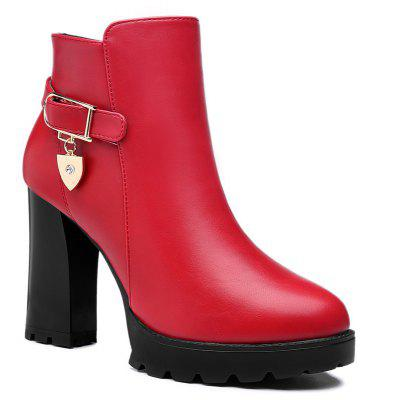 Buy RED 38 Thick High Heel Waterproof Platform Boots for $79.84 in GearBest store