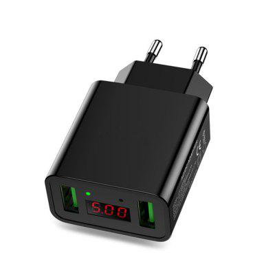LED Display Dual USB Phone Charger EU Plug the Max 2.2A Smart Fast Charging Mobile Wall Charger for iPhone iPad Samsung fast charging usb charger power travel adapter strip switch led display screen with 8 usb socket ports for us uk eu plug sockets