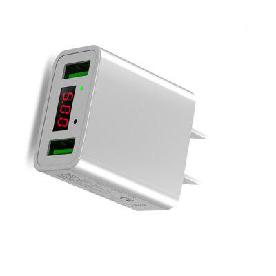 LED Display Dual USB Phone Charger US Plug The Max 2.2A Smart Fast Charging Mobile Wall Charger for iPhone iPad Samsung fast charging usb charger power travel adapter strip switch led display screen with 8 usb socket ports for us uk eu plug sockets