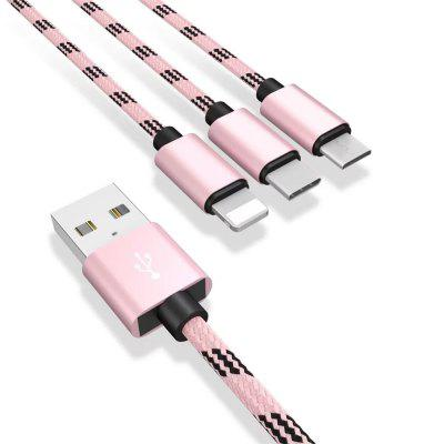 1.2m 3 in 1 Micro USB Type-C 8 Pin Data Charging Cable original remax 2 1a golden noodle style micro usb charging data cable for cellphone