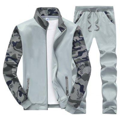 Men's Thin Collar Camouflage Sport Suit