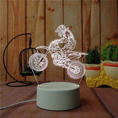 3D Road Motorcycle Small Night Light Plug LED Stereo Bedroom Bedside Lamp
