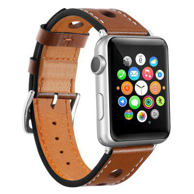 38mm Cow Leather Strap Replacement Band with Stainless Metal Clasp for Apple Watch