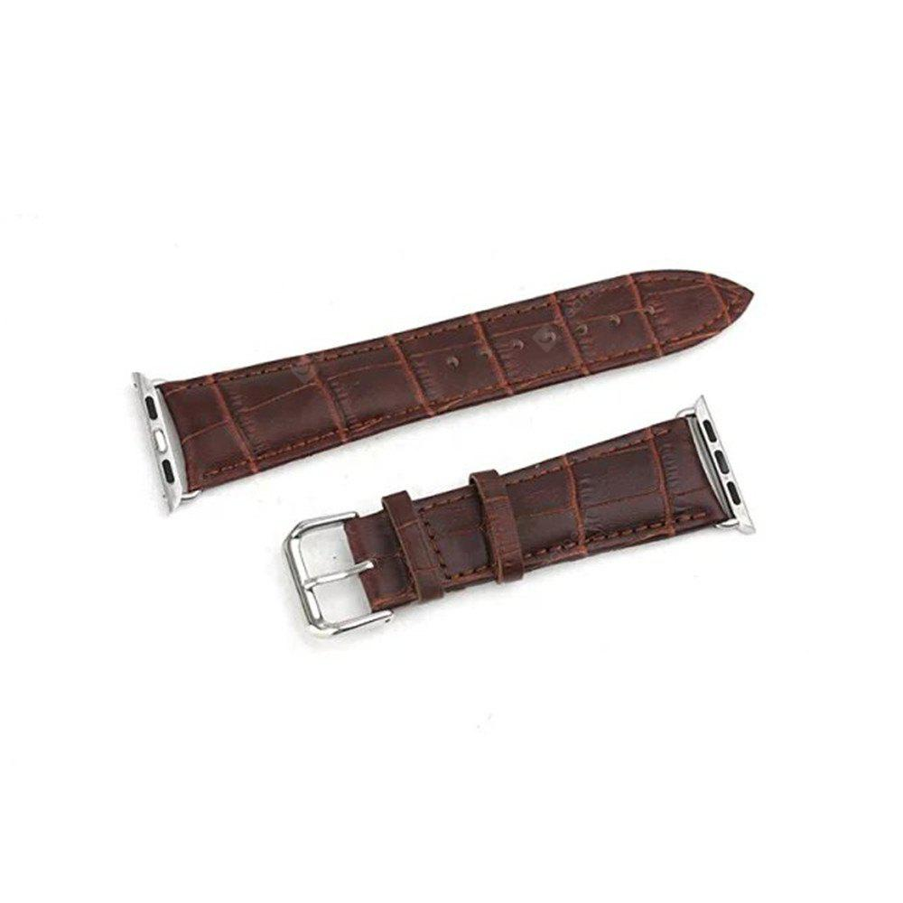 Crocodile Skin Leather Watch Strap Replacement With Adapter Clasp for Apple Watch Sports / Edition Version Size 38mm
