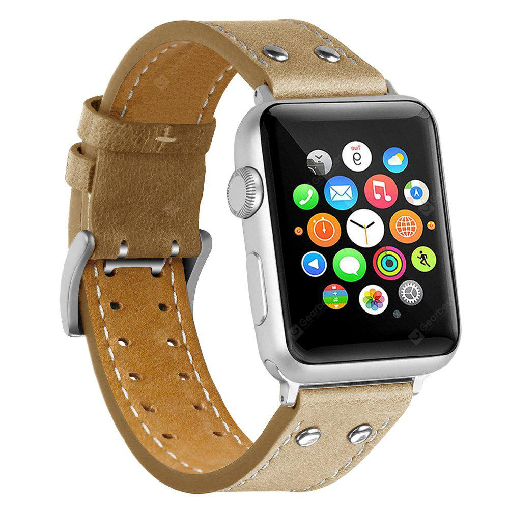 42mm Covery iWatch Band Genuine Leather Strap Stainless Metal Buckle for Apple Watch All Series