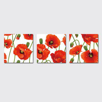 QiaoJiaHuaYuan No Frame Canvas Living Room Sofa Background Triplets Decorated With Simple Natural Red Flowers