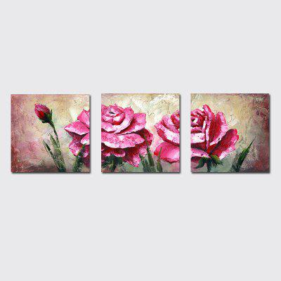 QiaoJiaHuaYuan No Frame Canvas Living Room Sofa Background Triplet Decoration Hanging Picture Flower.