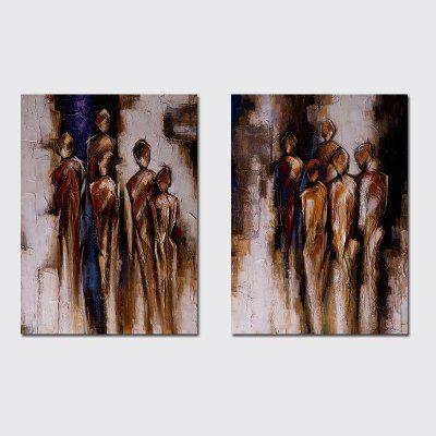 QiaoJiaHuaYuan No Frame Canvas Living Room Study Modern art Abstract Two Pieces of Decorative Painting