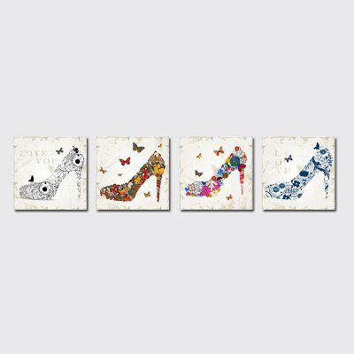 QiaoJiaHuaYuan No Frame Canvas Living Room Sofa Background Four Sets of Simple High Heels Hanging Pictures.