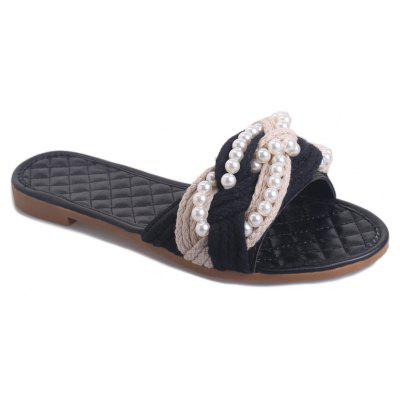 Fashion Handmade Beaded Antiskid Flat Cool Slippers