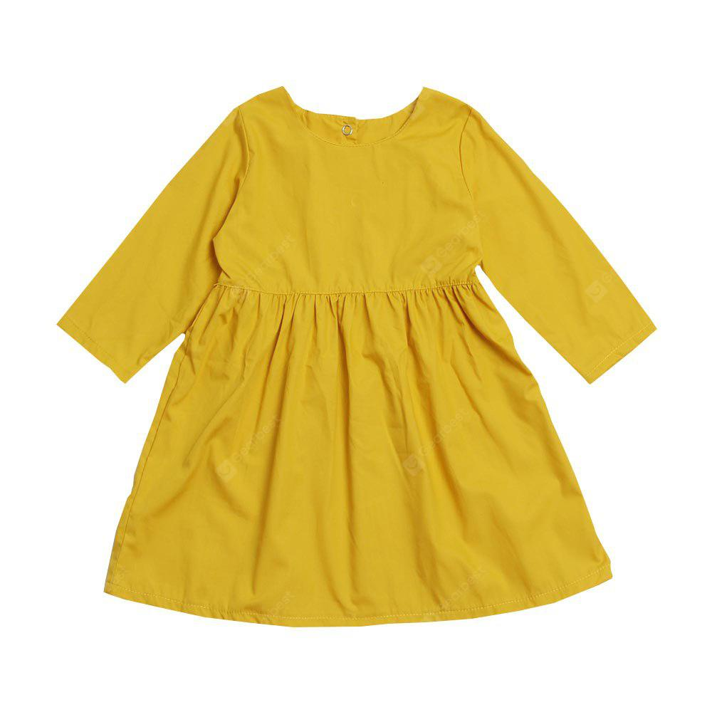2018 Spring Autumn Girl Dress Casual Solid Color Long-Sleeved Children Clothes
