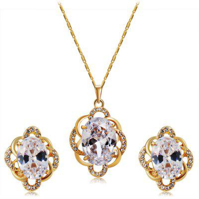 Women'S Flower Style Gold-Plated Crystal Pendant Necklace Earring Set