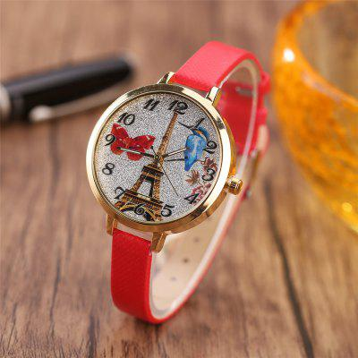 Khorasan The Paris Tower Pattern Women Watch Personality Quartz WatchWomens Watches<br>Khorasan The Paris Tower Pattern Women Watch Personality Quartz Watch<br><br>Available Color: Pink,Black,White,Red,Brown,Beige,Plum,Azure<br>Band material: Leather<br>Band size: 22 x 1CM<br>Case material: Alloy<br>Dial size: 3.5 x 3.5 x 0.8CM<br>Display type: Analog<br>Movement type: Quartz watch<br>Package Contents: 1 x Watch<br>Package size (L x W x H): 35.00 x 19.50 x 23.00 cm / 13.78 x 7.68 x 9.06 inches<br>Package weight: 0.0350 kg<br>Product size (L x W x H): 22.00 x 3.50 x 0.80 cm / 8.66 x 1.38 x 0.31 inches<br>Product weight: 0.0300 kg<br>Shape of the dial: Round<br>Watch style: Casual<br>Watches categories: Women,Female table<br>Water resistance: No