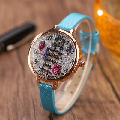 Khorasan The Leaning Tower of Pisa Pattern Personality Quartz WatchWomens Watches<br>Khorasan The Leaning Tower of Pisa Pattern Personality Quartz Watch<br><br>Available Color: Pink,Black,White,Red,Brown,Beige,Plum,Azure<br>Band material: Leather<br>Case material: Alloy<br>Dial size: 3.5 x 3.5 x 0.8CM<br>Display type: Analog<br>Movement type: Quartz watch<br>Package Contents: 1 x Watch<br>Package size (L x W x H): 35.00 x 19.50 x 23.00 cm / 13.78 x 7.68 x 9.06 inches<br>Package weight: 0.0350 kg<br>Product size (L x W x H): 22.00 x 3.50 x 0.80 cm / 8.66 x 1.38 x 0.31 inches<br>Product weight: 0.0300 kg<br>Shape of the dial: Round<br>Watch style: Casual<br>Watches categories: Women,Female table<br>Water resistance: No<br>Wearable length: 22 x 1CM