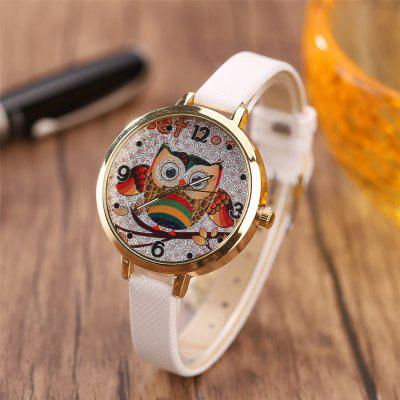 Khorasan Cartoon Owl with A Belt Quartz WatchWomens Watches<br>Khorasan Cartoon Owl with A Belt Quartz Watch<br><br>Available Color: Pink,Black,White,Red,Brown,Beige,Plum,Azure<br>Band material: Leather<br>Band size: 22 x 1CM<br>Case material: Alloy<br>Dial size: 3.5 x 3.5 x 0.8CM<br>Display type: Analog<br>Movement type: Quartz watch<br>Package Contents: 1 x Watch<br>Package size (L x W x H): 35.00 x 19.50 x 23.00 cm / 13.78 x 7.68 x 9.06 inches<br>Package weight: 0.0350 kg<br>Product size (L x W x H): 22.00 x 3.50 x 0.80 cm / 8.66 x 1.38 x 0.31 inches<br>Product weight: 0.0300 kg<br>Shape of the dial: Round<br>Watch style: Casual<br>Watches categories: Women,Female table<br>Water resistance: No