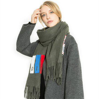 M1734 Single Color Printed Label Tassel Scarf