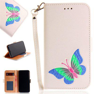 Hand-painted Butterfly Fashion Wallet Case para IPhone X Case PU luxo Flip Leather Case Bag com suporte