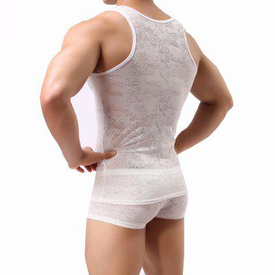 Male Lace  Sexy Semitransparent VestMens Short Sleeve Tees<br>Male Lace  Sexy Semitransparent Vest<br><br>Embellishment: Lace<br>Fabric Type: Dobby<br>Material: Spandex<br>Package Contents: 1 x underwear<br>Pattern Type: Floral<br>Shirt Length: Regular<br>Style: Fashion<br>Weight: 0.0800kg