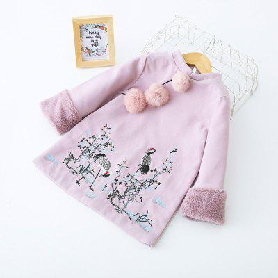 Long-Sleeved Quilted Skirt Cotton Embroidered Girls Dress Retro Tang Costume