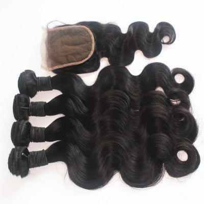 Body Wave 100% de cabelo humano humano Virgin Weave 3pcs com One Piece Lace Closure