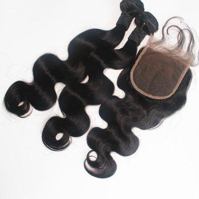 Body Wave Brazilian Human Virgin Hair Weave 2pcs com One Piece Lace Closure