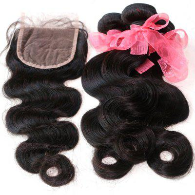 Body Wave Indian Human Virgin Hair Weave 4pcs com One Piece Lace Closure