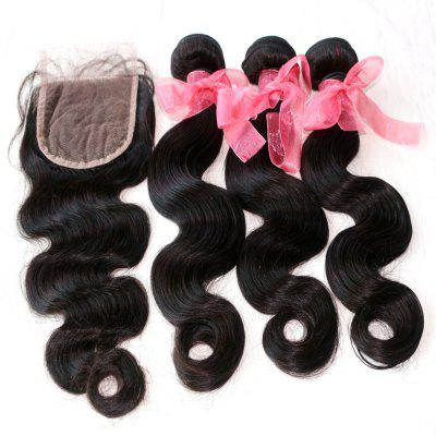 Onda Corporal 100 por cento Indian Human Virgin Hair Weave 3pcs com One Piece Lace Closure