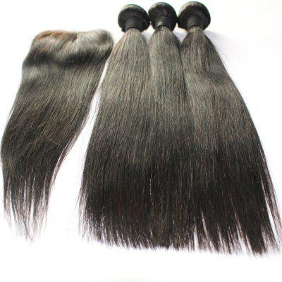 Straight 100% Indian Indian Virgin Hair Weave 3pcs com 1pc Lace Closure