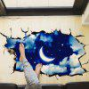 3D Moon Sky Decoratie Kast Dak Vloer Sticker Art Stickers - BLAUW
