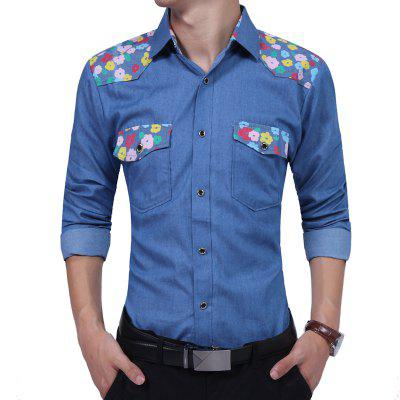 Camisa Spliced ​​Leisure Tide para hombre